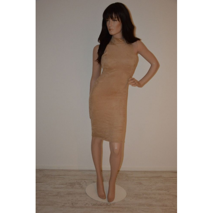 Jurk open rug taupe