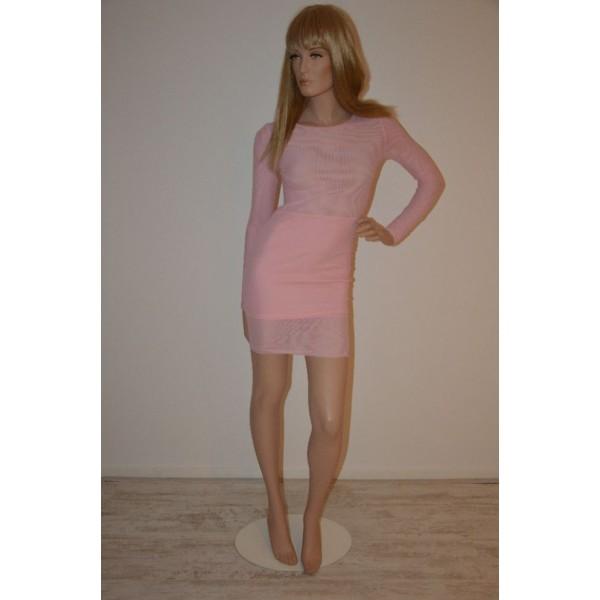 Longsleeve mesh jurk Blush