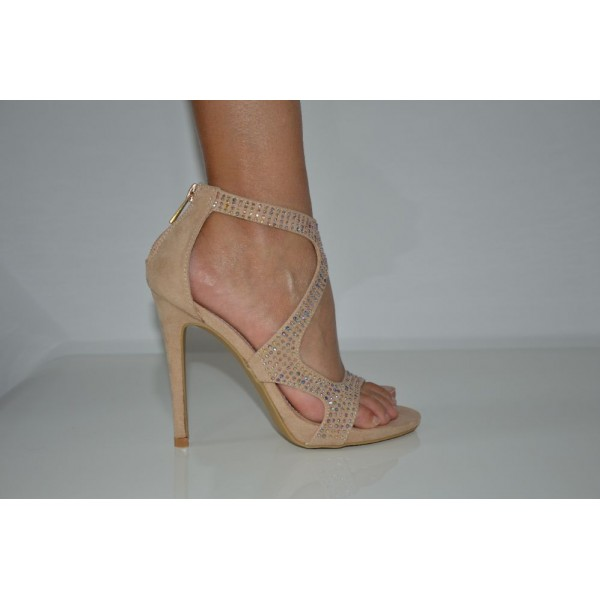 Nude Rhinestone Strappy Single Sole