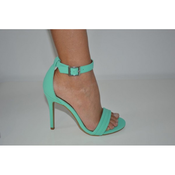Mint Stitched Strap Open Toe Single Sole