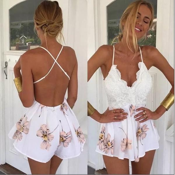 Open Back Jumpsuit White